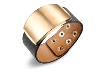 Genuine Cow Leather Wrap Bracelet With 18K Gold Buckle 3-Leather/Black