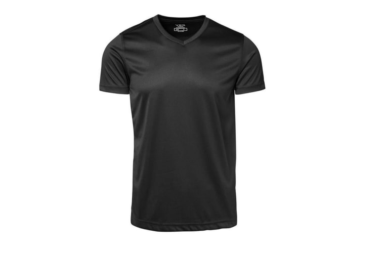 ID Mens Yes Functional Active Short Sleeve Fitted V-Neck T-shirt (Black) (S)