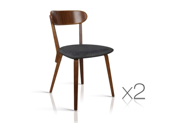 Set of 2 Modern Cushioned Dining Chairs (Charcoal)