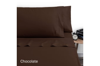 250TC Polyester Cotton Sheet Set Single Chocolate by Artex
