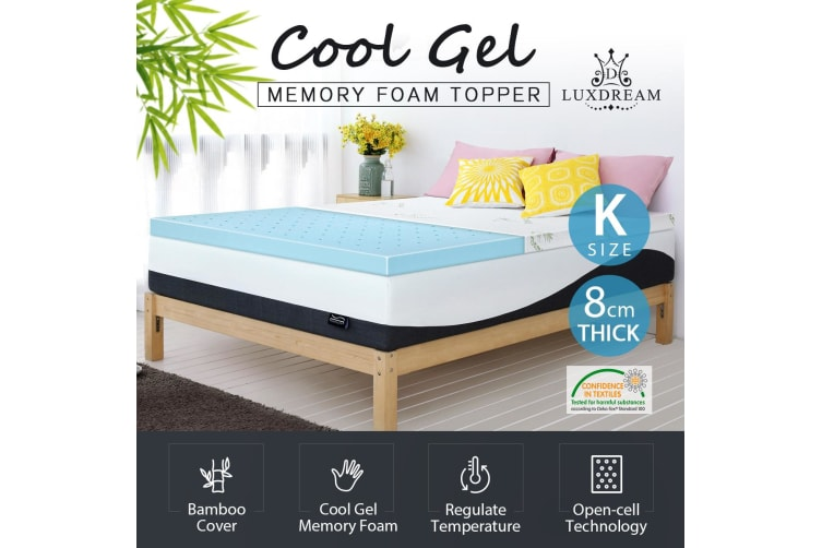 check out b612a a8557 Luxdream King Size Thick Cool Gel Memory Foam Mattress w/Bamboo Cover