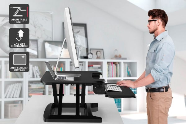 Ergolux Pro Height Adjustable Sit Stand Desk Riser (Small, Black)