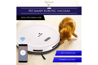 MyGenie Pet Smart Robotic Vacuum Cleaner App-Controlled Wi-Fi White