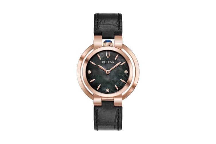 Bulova Ladies' 35mm Analog Watch with Diamonds & Embossed Leather Strap - Black/Rose Gold (97P139)
