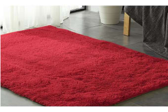 New Designer Shaggy Floor Confetti Rug RED 80x120cm