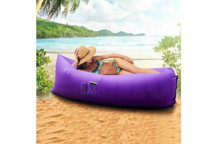 New Inflatable Air Bag Sofa Lounge Sleeping bag Camping Bed Outdoor Beach Couch  -  Black