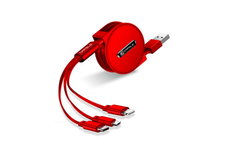 Three On One Multifunctional Data Line Applicable To Iphone Android Type-C - Red Red Iphone+Android+Type-C