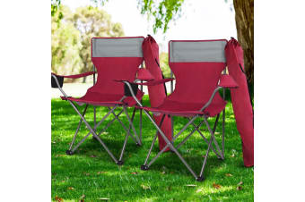 Weisshorn Set of 2 Folding Camping Arm Chairs Portable Outdoor Garden Fishing Picnics