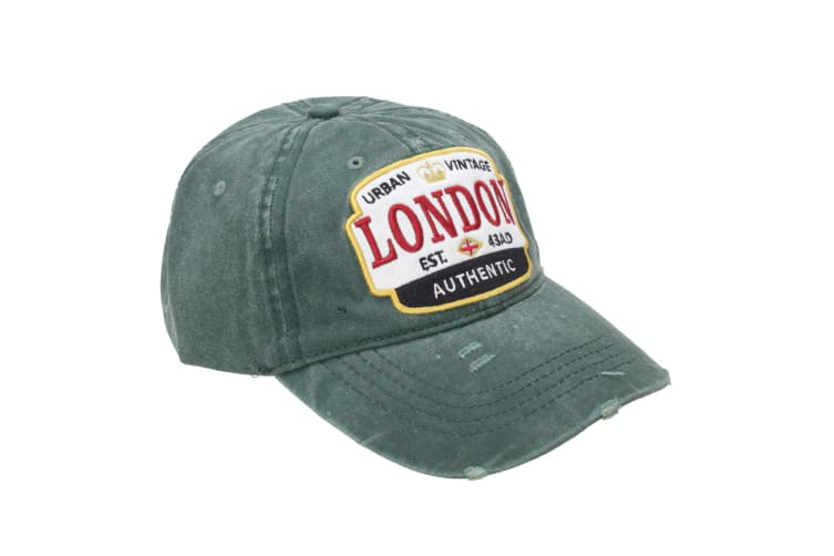 London Unisex Adults Distressed Baseball Cap (Forest) (One Size)
