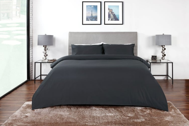Ovela 400TC 100% Bamboo Quilt Cover Set (Queen, Charcoal)