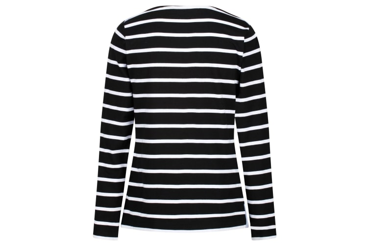 Regatta Womens/Ladies Flordelis Striped Long Sleeve T-Shirt (Black/White) (14 UK)