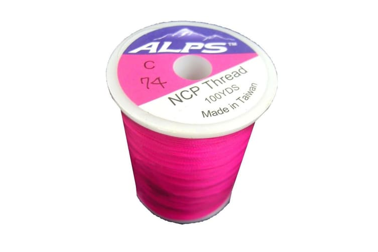 Alps 100yds of Deep Pink Rod Wrapping Thread - Size C (0.2mm) Rod Binding Cotton