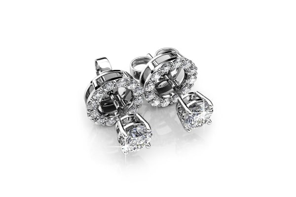 Monarch Earrings w/Swarovski Crystals-White Gold/Clear