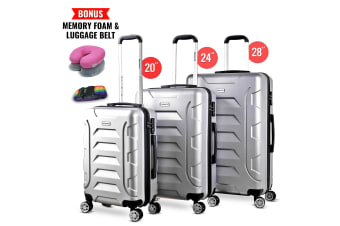 3pc Luggage Suitcase Trolley Set TSA Travel Carry On Bag Hard Case Lightweight C
