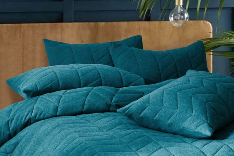Gioia Casa Quilted Jersey Quilt Cover (Queen/Soft Teal)