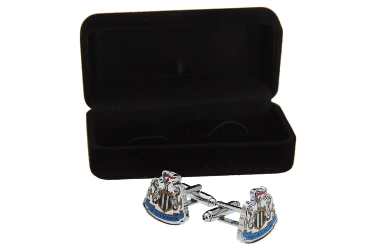 Newcastle United FC Official Metal Football Crest Cufflinks (Silver/Black/White) (One Size)