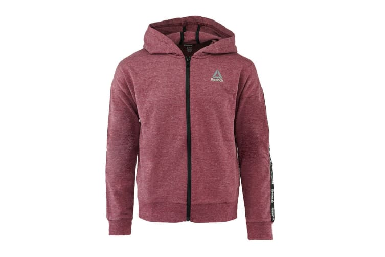 Reebok Girls' Active Full Zip Hoodie (Dark Berry, Size 6)