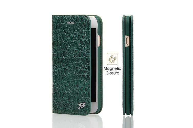 For iPhone 8 7 Wallet Case FierreShann Crocodile Genuine Cow Leather Cover Green