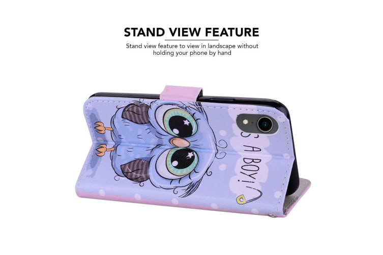 For iPhone XR Case Cute Owl Wallet Leather Cover 2 Card Slots