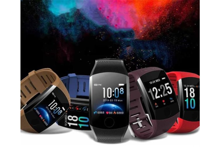 WJS 1.3inch Color Screen Blood Pressure Heart Rate Monitor Sport bluetooth Smart Wristband Watch-BROWN