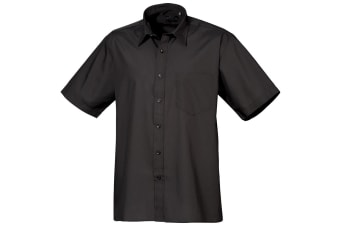Premier Mens Short Sleeve Formal Poplin Plain Work Shirt (Black) (16.5)