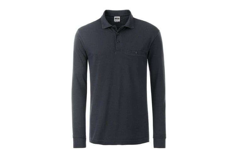 James and Nicholson Mens Workwear Long Sleeve Pocket Polo (Carbon Grey) (L)