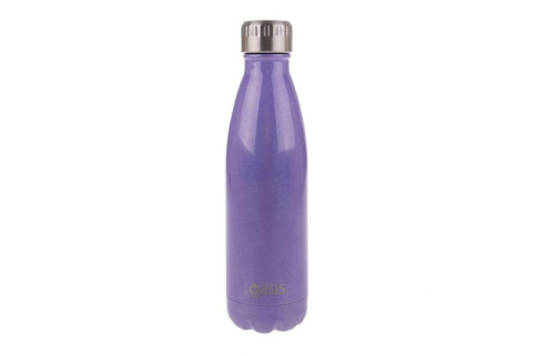 Oasis Lustre Stainless Steel Double Wall Insulated Drink Bottle 500ml Purple