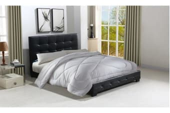 KING Size Black PU Leather Wooden Bed Headboard and Frame Combition