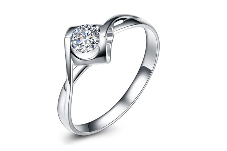 Angle Kiss Micro Paved 925 Sterling Silver  Simulated Diamond Ring 7