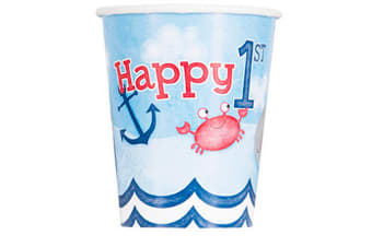 Unique Party Nautical 1st Birthday Cups (Pack Of 8) (Multicoloured) (One Size)