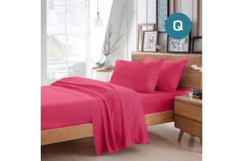 Queen Size Hot Pink Color Poly Cotton Fitted Sheet Flat Sheet Pillowcase Sheet Set