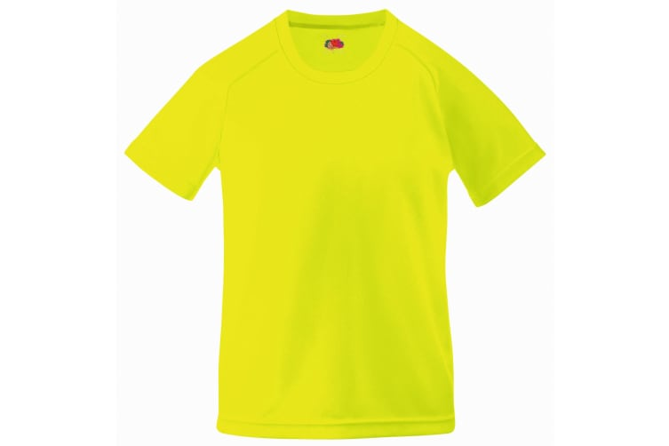 Fruit Of The Loom Childrens Unisex Performance Sportswear T-Shirt (Pack of 2) (Bright Yellow) (12-13)