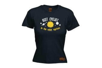 Ride Like The Wind Cycling Tee - Best Cyclist In Solar System - (X-Large Black Womens T Shirt)