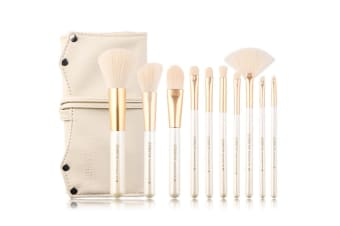 10Pcs Pearl White Cosmetic Brushes Set Beginner Portable Cosmetic Set Brushes - White
