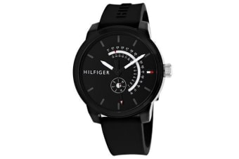 Tommy Hilfiger Men's Classic Watch (Black Dial, Silicone Strap)
