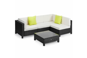 LONDON RATTAN 5pc Sofa Outdoor Furniture Black Wicker Lounge Set Setting Pool