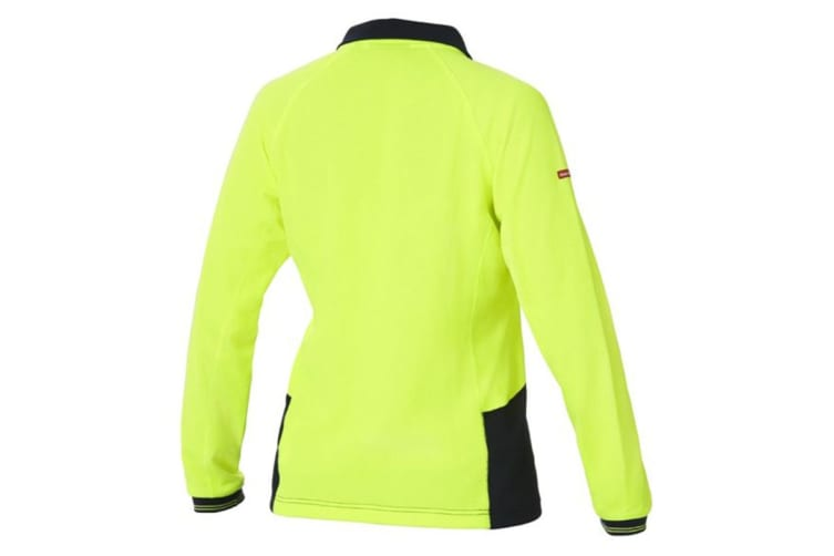 Hard Yakka Women's Koolgear Hi-Vis Long Sleeve Polo (Yellow/Dark Navy, Size L)