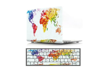 """Marble Frosted Matte Hard Case with Free Keyboard Cover for MacBook Pro 13"""" 2016-2018 A1706 A1989 (With Touch Bar)-World Map White Base"""