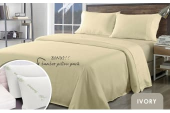 Royal Comfort Bamboo Blend Sheet Set 1000TC and Bamboo Pillows 2 Pack Ultra Soft - King - Ivory