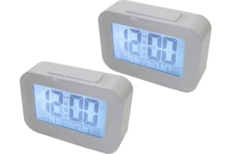 2X Smart Light Lcd Alarm Clock Backlit Display Portable Battery Operated White