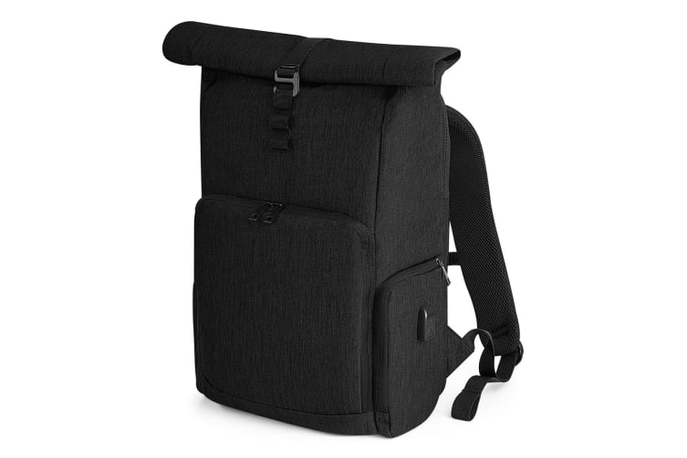 Quadra Q-tech Charge Roll-top Backpack (Black) (One Size)