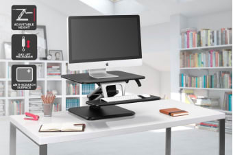 Ergolux Lite Height Adjustable Sit Stand Desk Riser (Compact, Black)