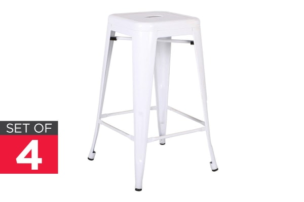 Ovela Set of 4 Tolix Replica 66cm Stools (White)