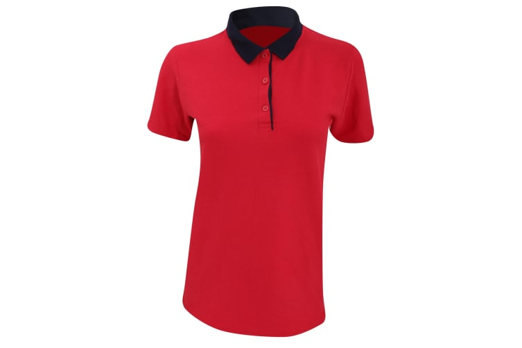 Anvil Womens/Ladies Double Pique Semi-Fitted Polo Shirt (Red/ Navy) (2XL)