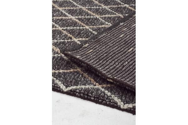 Luxury Madras Felted Wool Rug Blue Charcoal 280X190cm