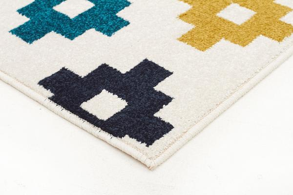 Indoor Outdoor Pixel Rug Blue Green White 290x200cm