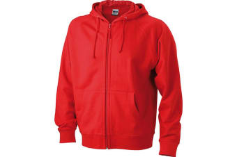 James and Nicholson Unisex Hooded Jacket (Red) (M)