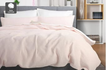 Ovela Deluxe Cotton Waffle Quilt Cover Set (Blush)