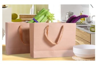 50 x Kraft Brown Paper Carry Bags 22(L)x18(W)x10(H)cm
