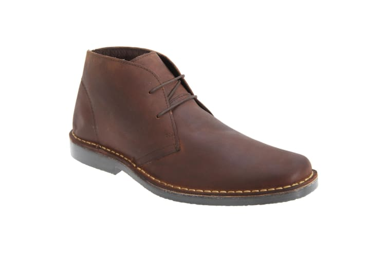 Roamers Mens Pull Up Leather Desert Boots (Brown) (8 UK)